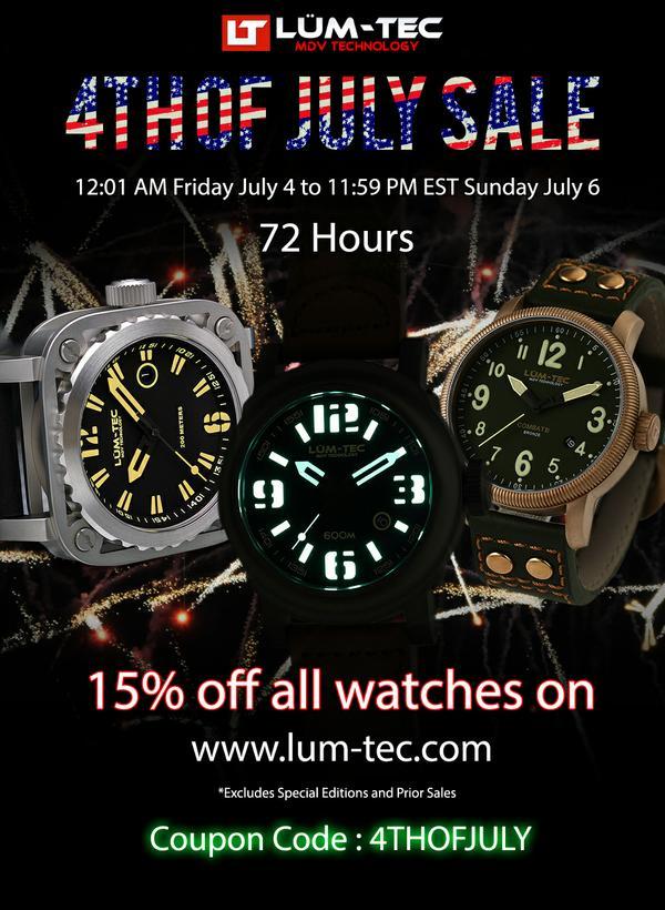 Скидка 15% на все часы LUM-TEC