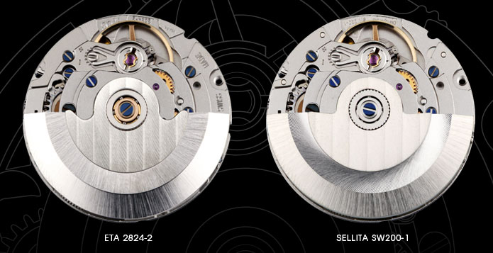 ETA 2824, Sellita SW200, Miyota 9015, Seiko 6R15, STP1-11, Hangzhou 6301, Seagull TW2130
