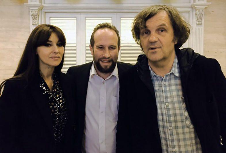 На фото - Жак фон Полье, Эмир Кустурица и Моника Белуччи