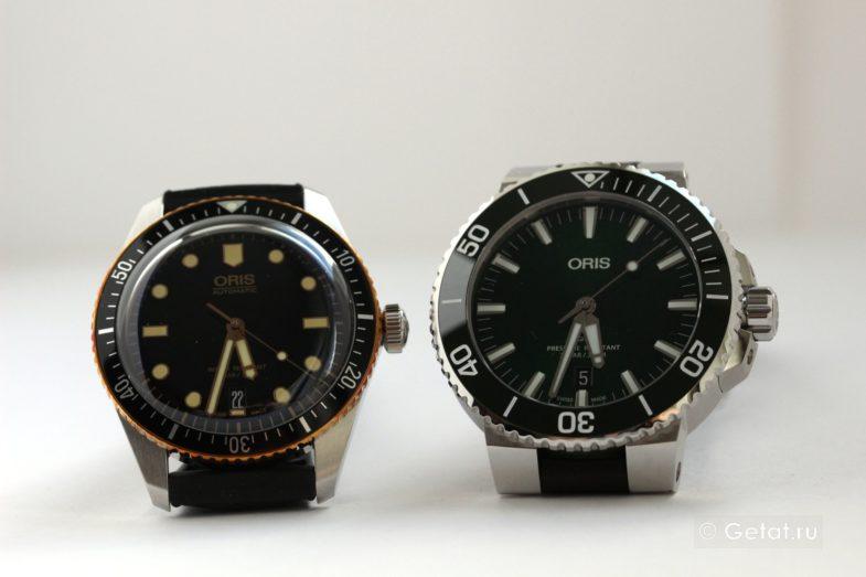 Зеленые Oris Aquis vs Oris Divers 65 с безелем из бронзы